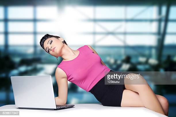 sexy businessman at office - women wearing short skirts stock pictures, royalty-free photos & images