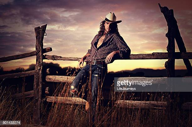 Sexy Country Cowboy In A Western Sunset