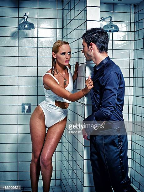 sexy couple  in the shower - couples showering stock pictures, royalty-free photos & images