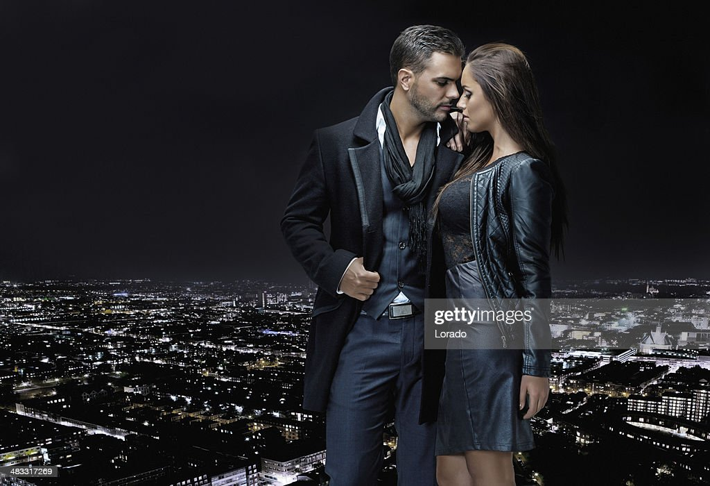 Sexy Couple Posing On Top Of Building In The Night Stock -1893