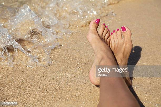 sexy feet - pretty toes and feet stock photos and pictures