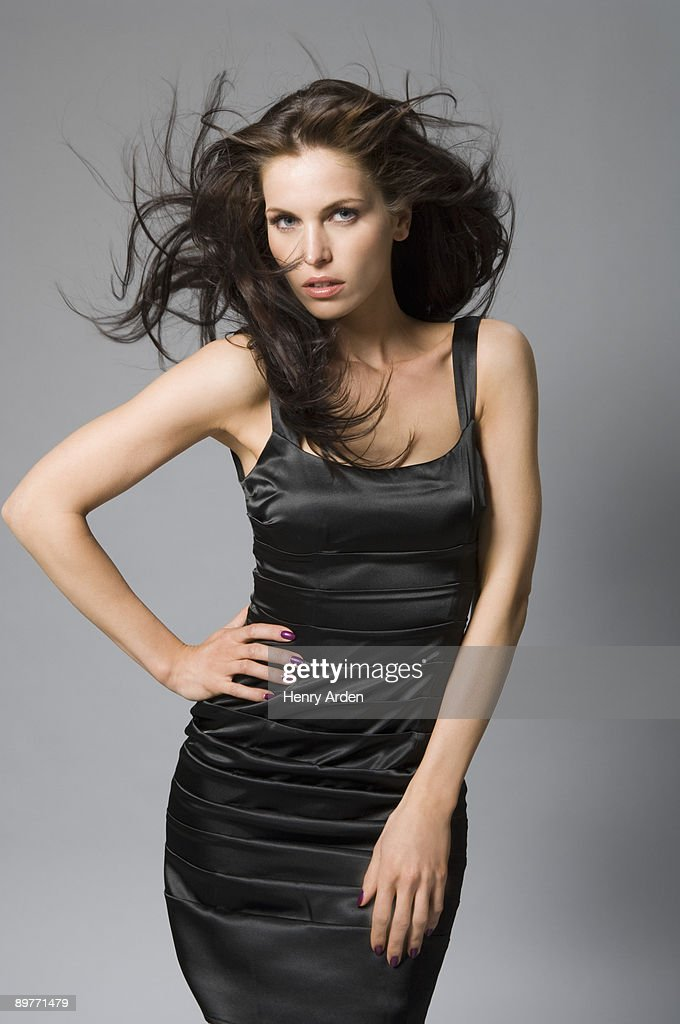 sexy female model hair blowing : Stock Photo