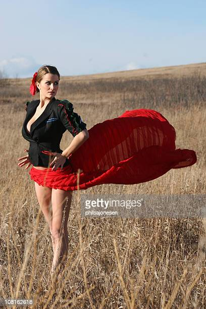 sexy flamenco bullfighter woman - flamenco stock photos and pictures