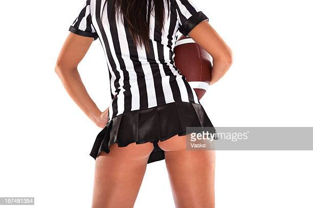 sexy football - female umpire stockfoto's en -beelden