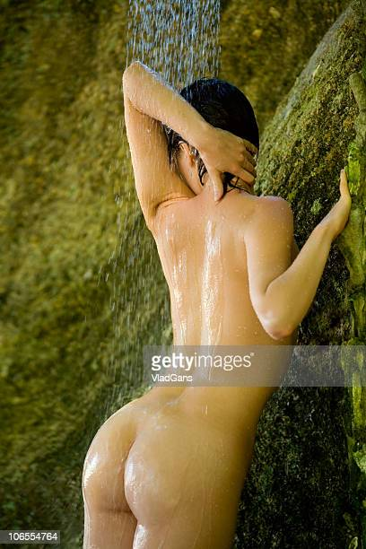Sexy girl at the outdoor shower.