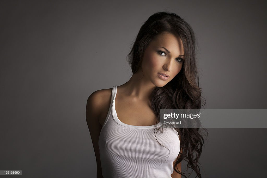Sexy Girl in a White Tank Top : Stock Photo