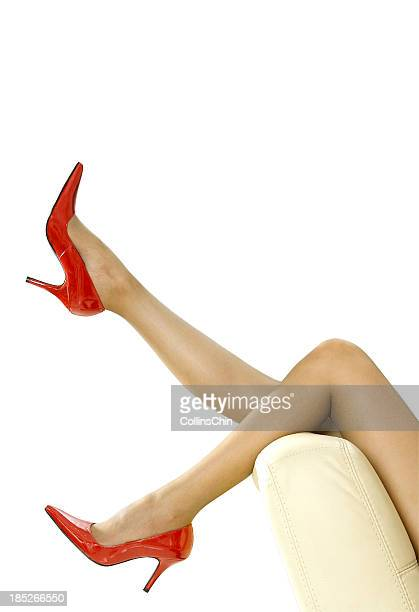 sexy leg - women in stockings and high heels stock photos and pictures