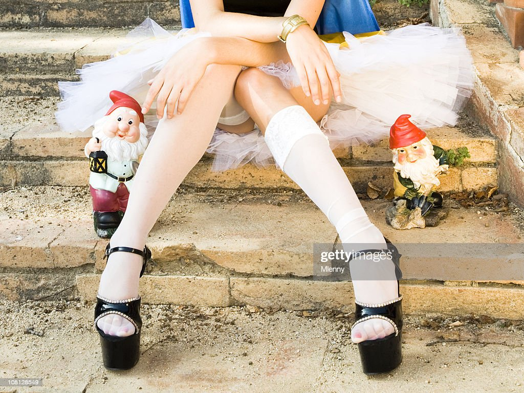 sexy legs and the dwarfs : Stock Photo