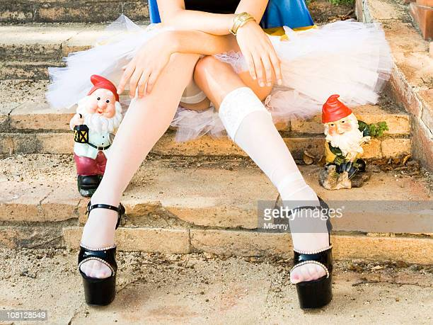 sexy legs and the dwarfs - snow white stock photos and pictures