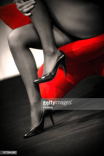 sexy legs - long nylon legs stock pictures, royalty-free photos & images