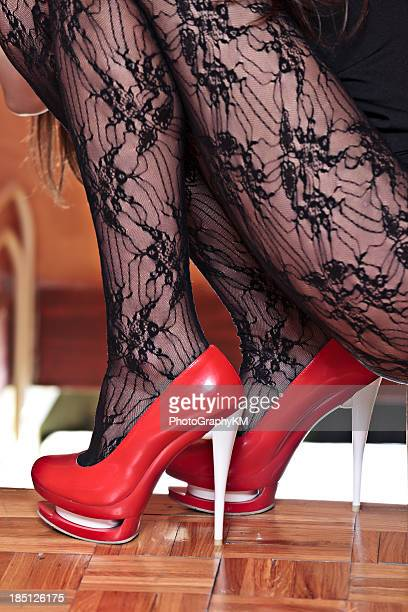 sexy legs - nylon feet stock photos and pictures