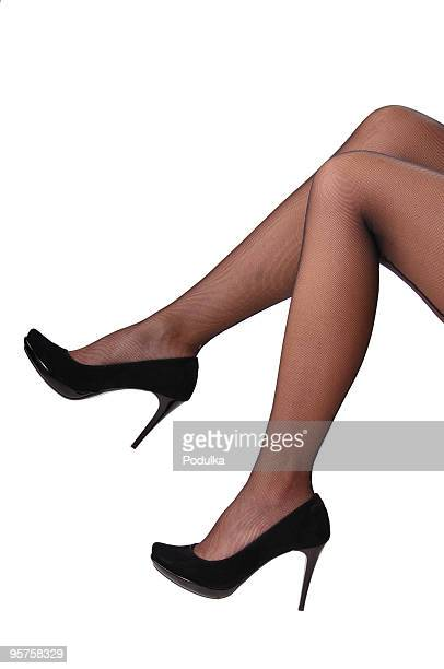 sexy legs - women in pantyhose and high heels stock photos and pictures
