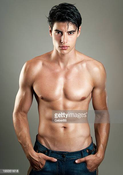 sexy male model - asian six pack stock photos and pictures