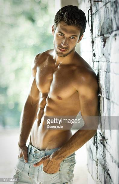 sexy male model - male torso stock photos and pictures