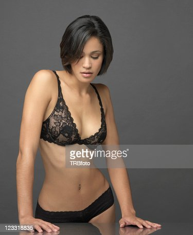 Sexy Mixed Race Woman In Lingerie Stock Photo