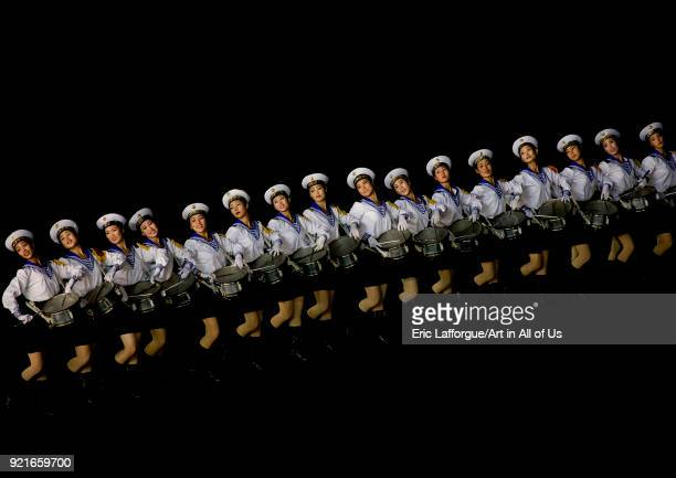 Sexy North Korean women dressed as sailors during the Arirang mass games in may day stadium Pyongan Province Pyongyang North Korea on September 11...