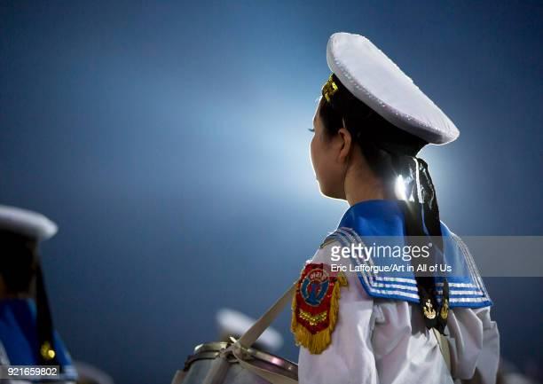 Sexy North Korean women dressed as sailors during the Arirang mass games in may day stadium Pyongan Province Pyongyang North Korea on September 8...