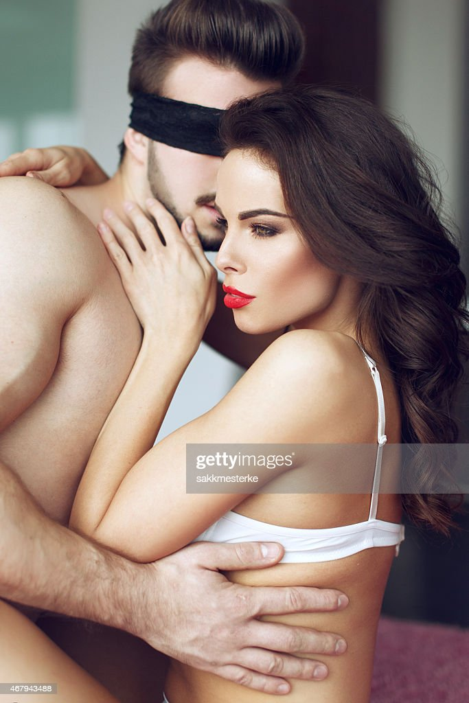 Sexy Passionate Couple Foreplay Stock Photo