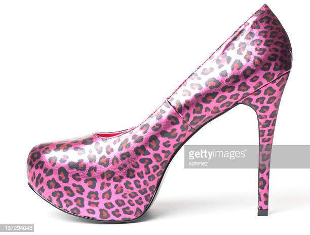 sexy pink leopard high heel shoe - leopard skin stock pictures, royalty-free photos & images