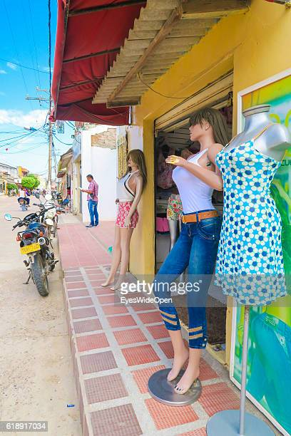 Sexy puppy doll with big boobs and curves of a fashion shop for clothes on August 22 2016 in Mompox Colombia The old town is listed by Unesco World...