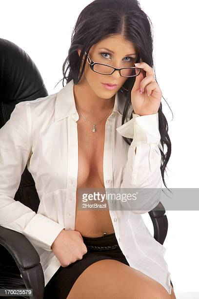 sexy secretary with open shirt - hot babe stockfoto's en -beelden