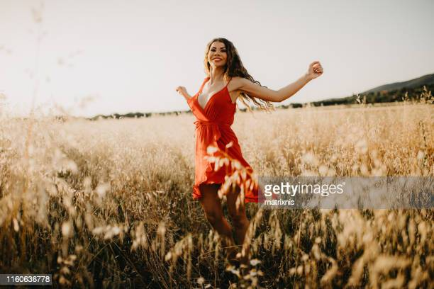Sexy sensual lady in the wheat field