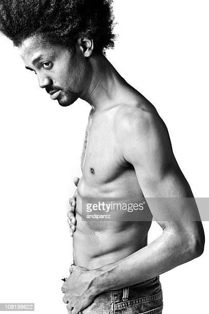 sexy lado - hombre desnudo fondo blanco fotografías e imágenes de stock