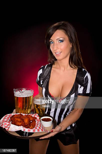 sexy waitress - beautiful woman chest stock pictures, royalty-free photos & images