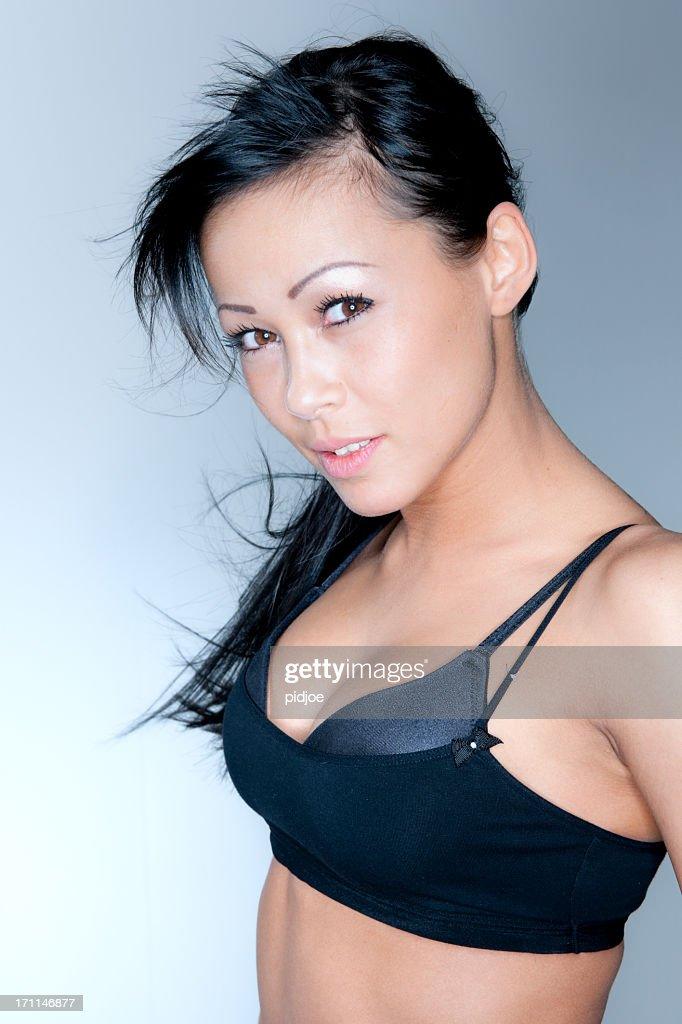 sexy woman in black tank top XXXL : Stock Photo