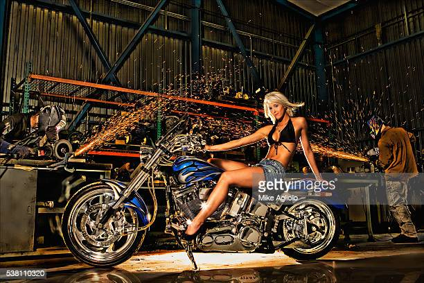 sexy woman on motorcycle - mike agliolo stock pictures, royalty-free photos & images