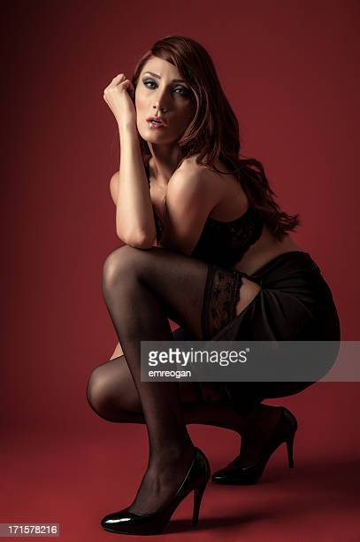 Sexy woman on red