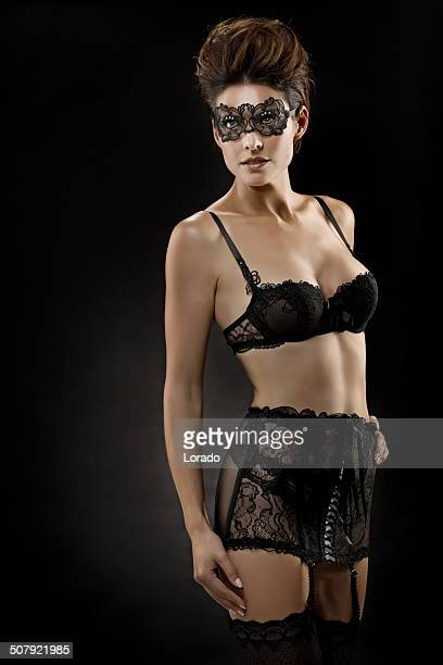 sexy woman posing in black lingerie - pantyhose mask stock pictures, royalty-free photos & images