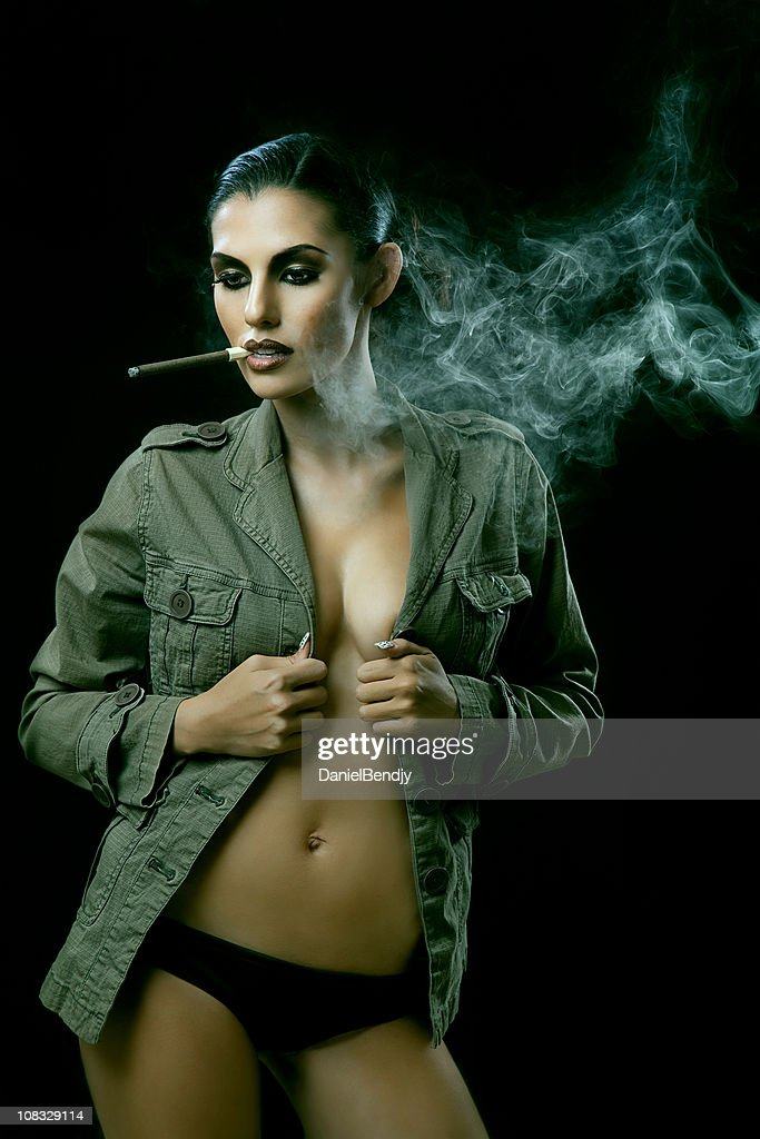 Sexy Woman Smoking Cigar Stock Photo Getty Images