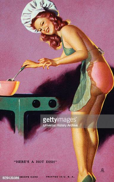 Sexy Woman Stirring Pot on Stove 'Here's a Hot Dish' Mutoscope Card 1940's