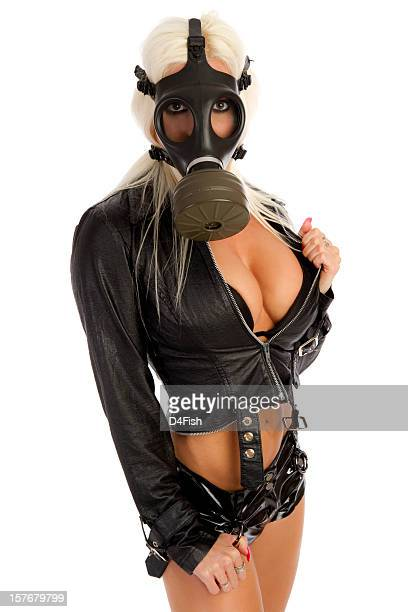 sexy donna con maschera antigas - maschera antigas foto e immagini stock