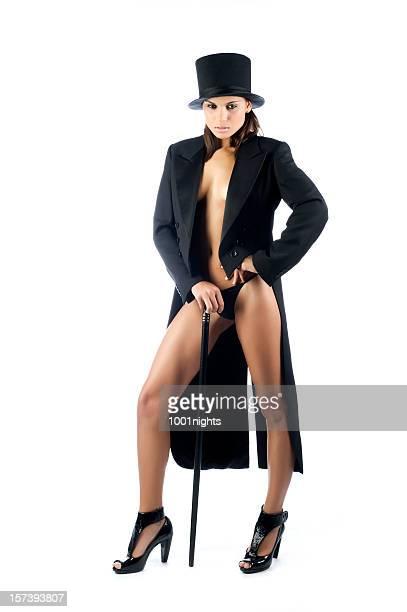 sexy woman with black tuxedo - förförisk kvinna bildbanksfoton och bilder