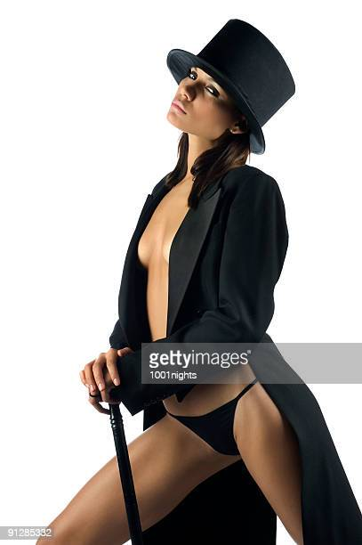 sexy woman with black tuxedo - legs apart stock pictures, royalty-free photos & images
