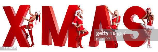 sexy weihnachten - weihnachtsfrau stock-fotos und bilder