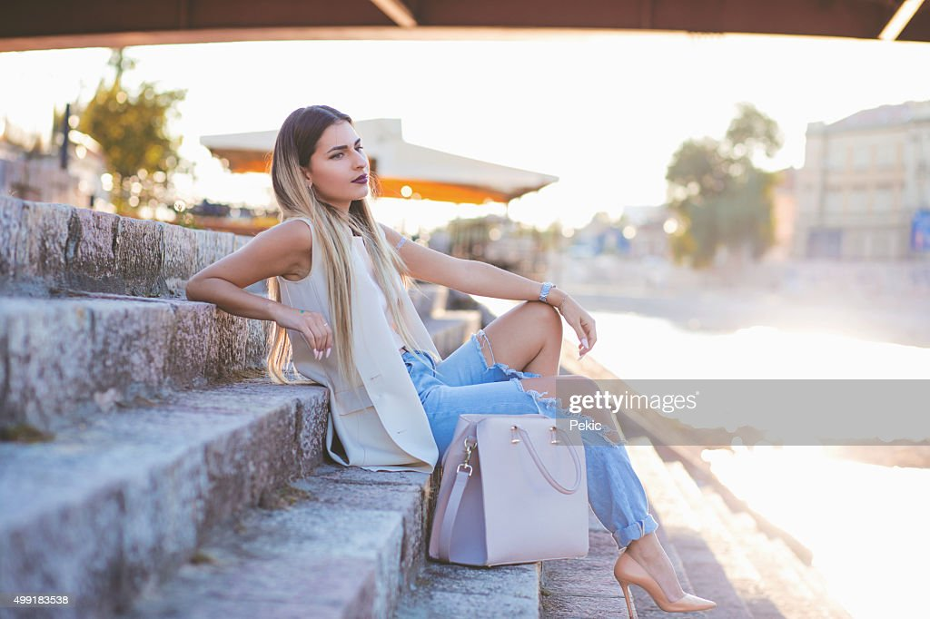 Sexy young stylish hipster woman posing : Stock Photo
