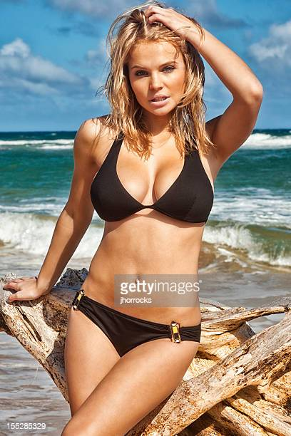 sexy young woman in black bikini posing with driftwood - hot babe stockfoto's en -beelden