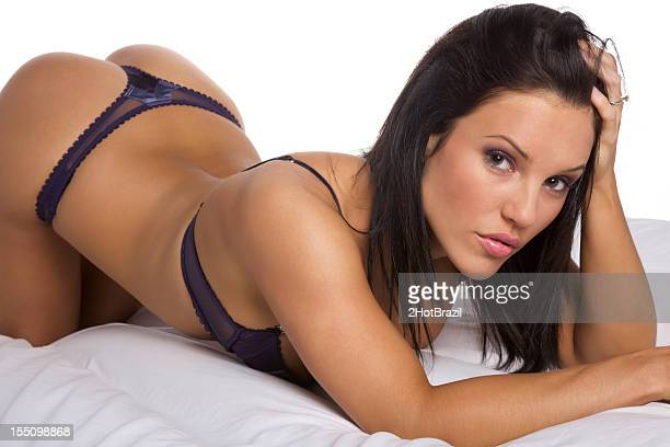 sexy young woman in lingerie - pants stock photos and pictures