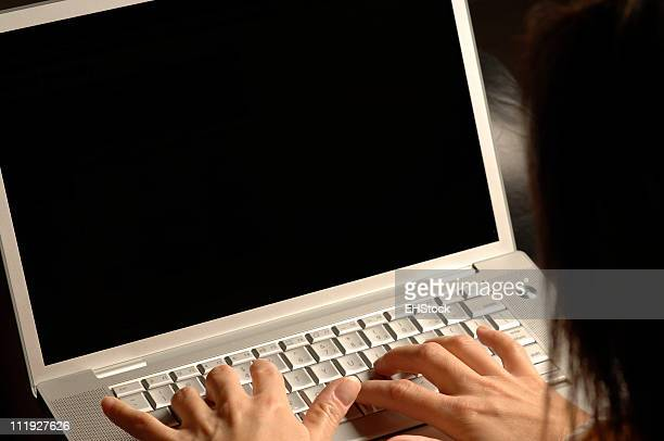Sexy Young Woman in Lingerie Typing on Laptop Computer