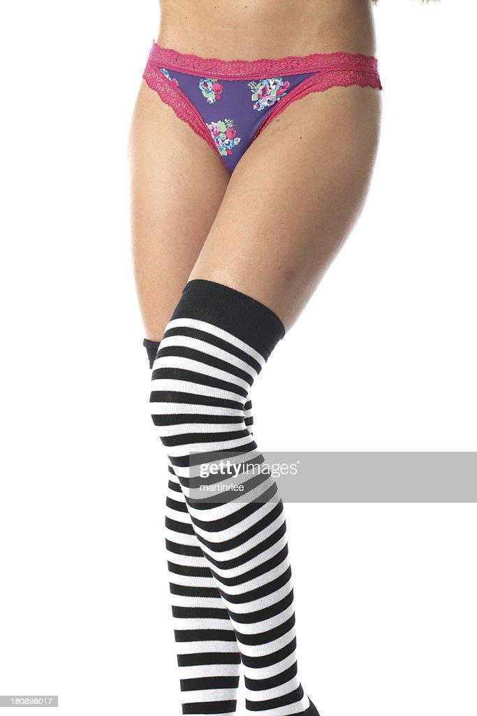Sexy Junge Frau Mit Damenunterhose Und Knee Socks Stock Foto Getty