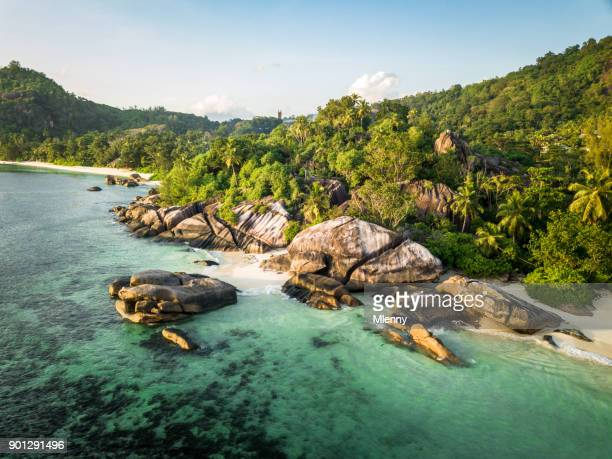 seychelles aerial view anse takamaka mahe island - boulder county stock pictures, royalty-free photos & images