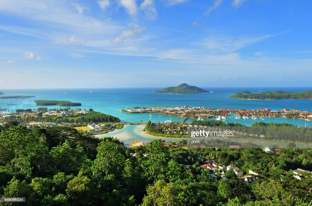 Seychelles Islands from above. Mahe : Stock Photo