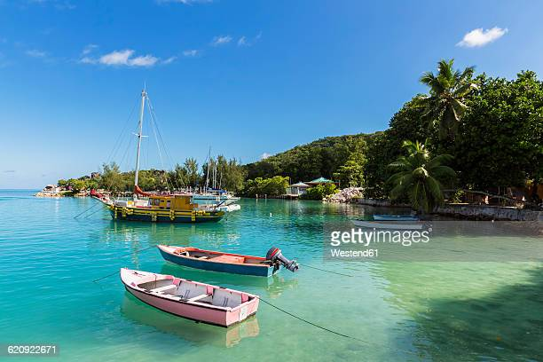 Seychelles, La Digue, harbour and boats