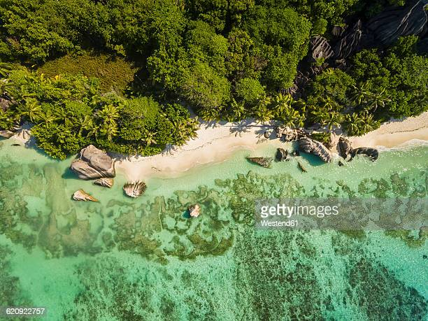 seychelles, la digue island, anse source d'argent, aerial view of beach - seychelles stock pictures, royalty-free photos & images