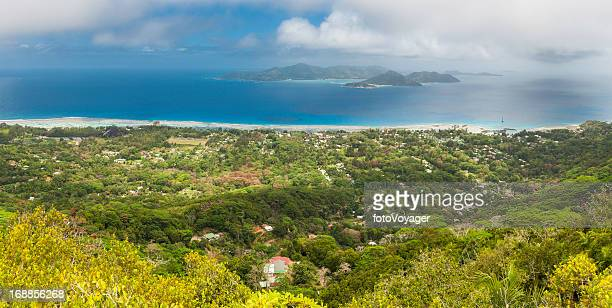 seychelles la digue praslin tropical island paradise blue ocean panorama - la digue island stock pictures, royalty-free photos & images