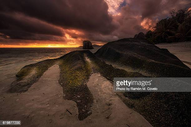 seychelles landscapes - garden of eden old testament stock photos and pictures