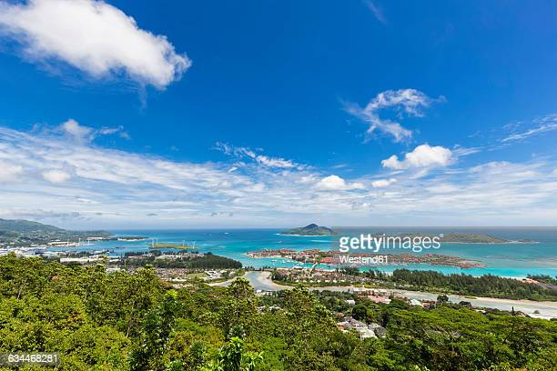 Seychelles, Mahe, View to Eden Island, Port Victoria, Sainte Anne Marine National Park, Islands in the background